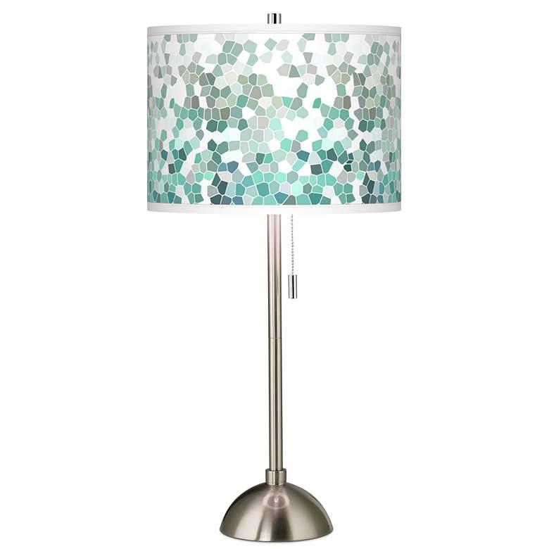 Aqua Mosaic Giclee Brushed Nickel Table Lamp