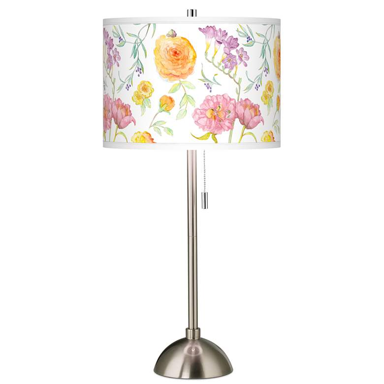 Spring Garden Giclee Brushed Nickel Table Lamp