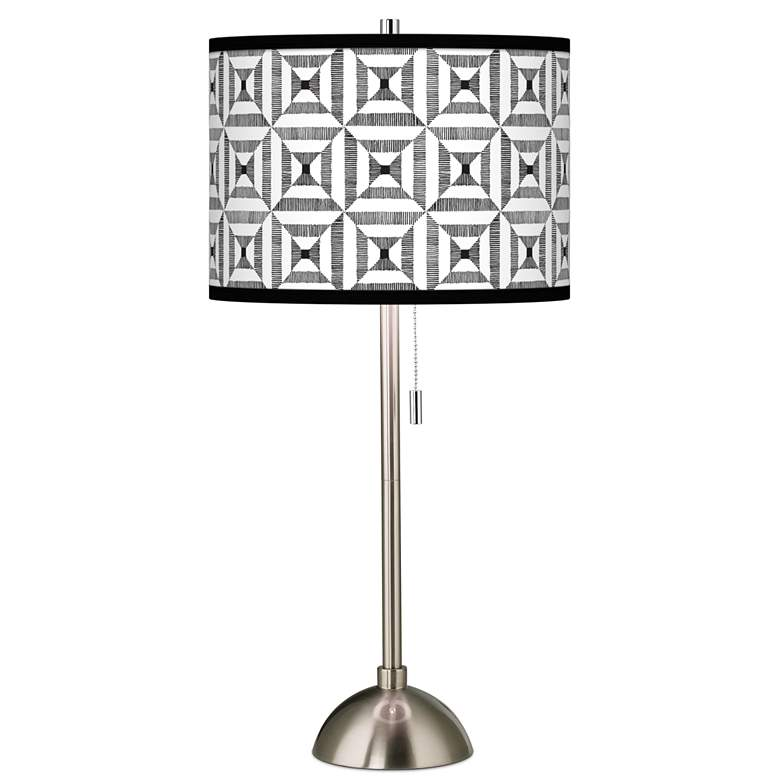 Tile Illusion Giclee Brushed Nickel Table Lamp