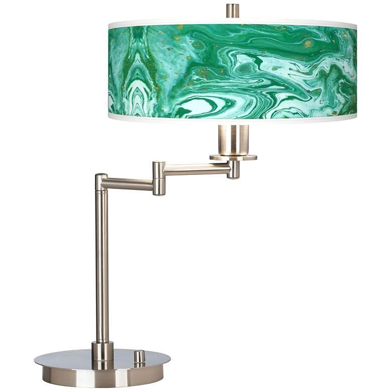 Malachite Stone Pattern Giclee Shade LED Swing Arm Desk Lamp