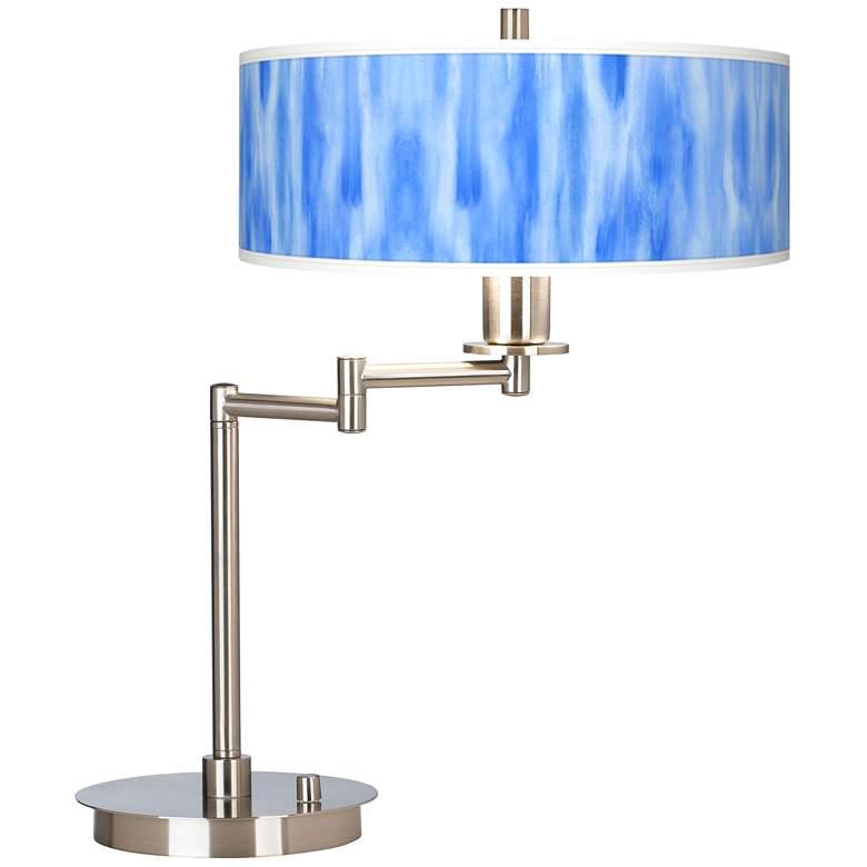 Blue Tide Giclee Shade Modern LED Swing Arm Desk Lamp