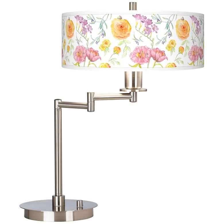 Spring Garden Flowers Giclee Shade LED Swing Arm Desk Lamp