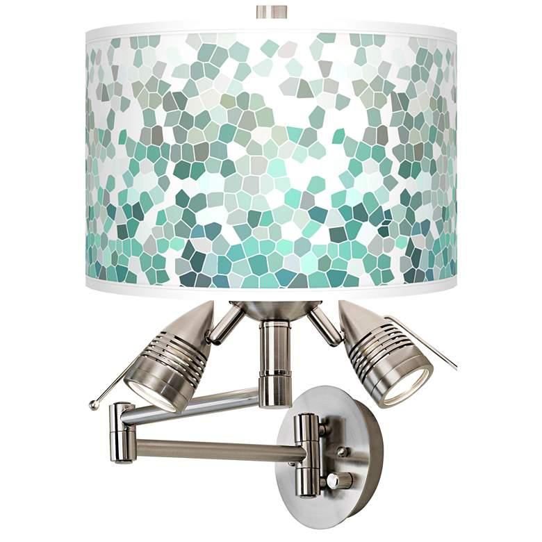 Aqua Mosaic Giclee Swing Arm Wall Light