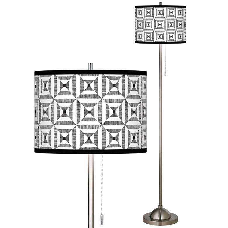 Tile Illusion Brushed Nickel Pull Chain Floor Lamp