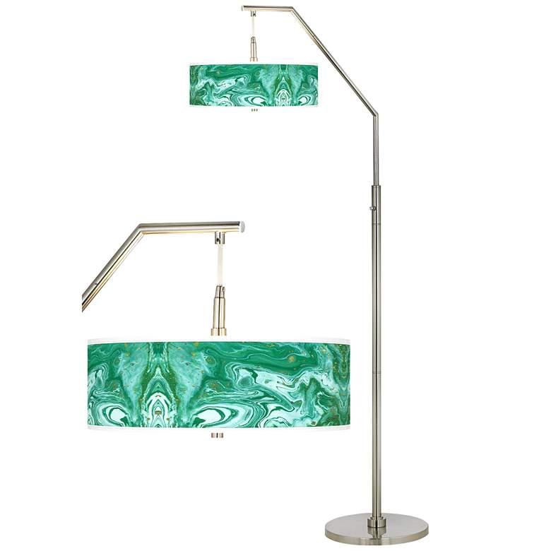 Malachite Giclee Shade Arc Floor Lamp