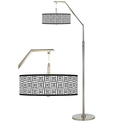 Tile Illusion Giclee Shade Arc Floor Lamp