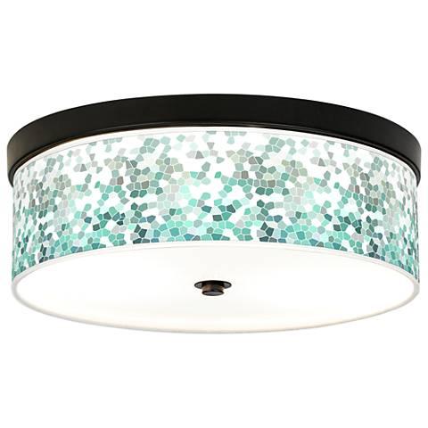 Aqua Mosaic Giclee Energy Efficient Bronze Ceiling Light