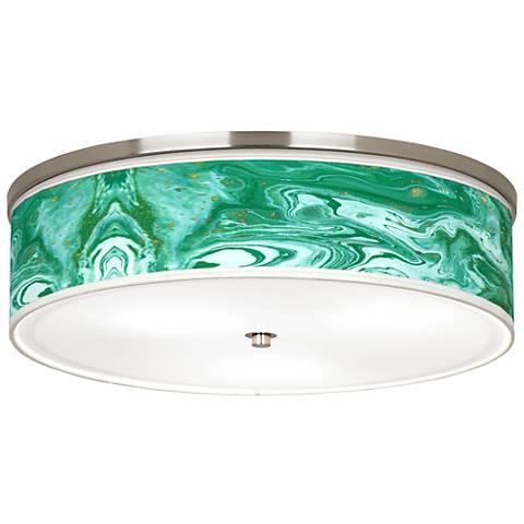"Malachite Giclee Nickel 20 1/4"" Wide Ceiling Light"