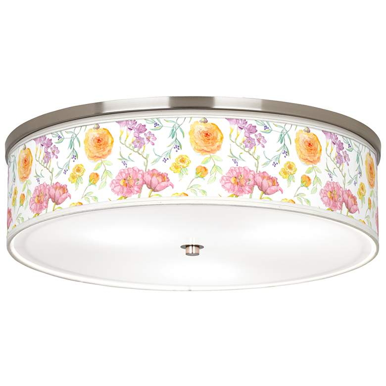 "Spring Garden Giclee Nickel 20 1/4"" Wide Ceiling Light"