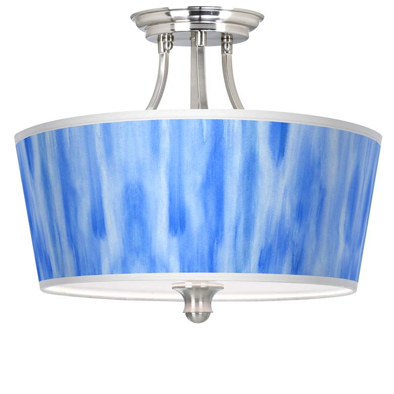 Blue Tide Tapered Drum Giclee Ceiling Light