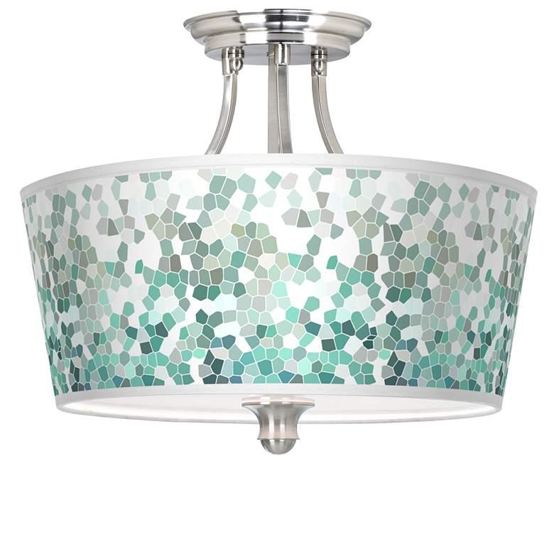 Aqua Mosaic Tapered Drum Giclee Ceiling Light