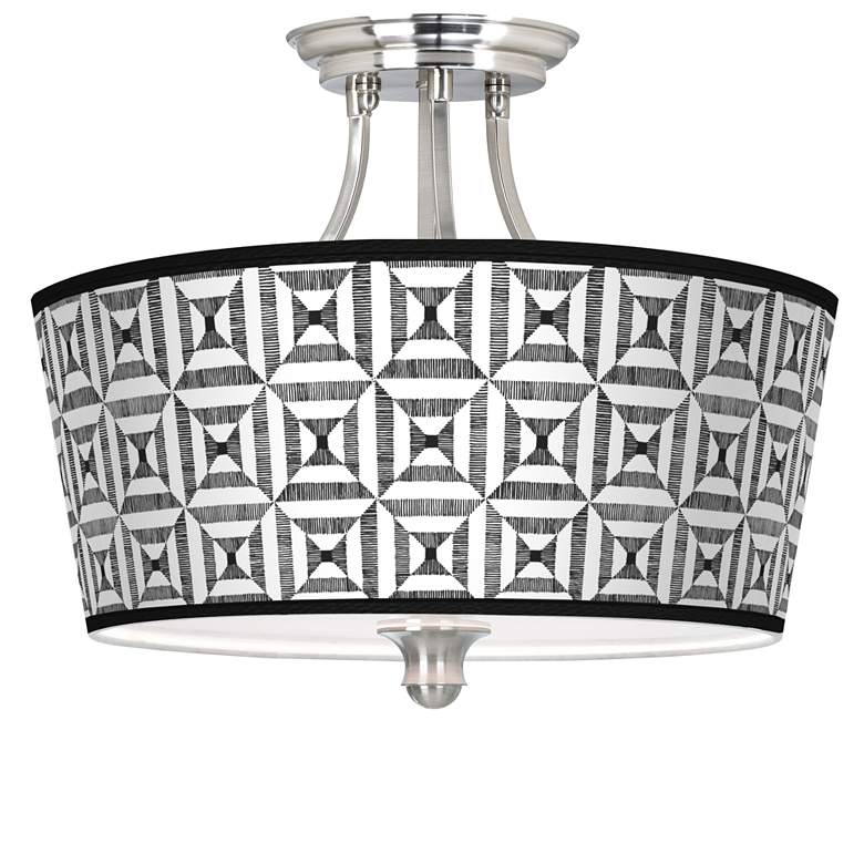 Tile Illusion Tapered Drum Giclee Ceiling Light