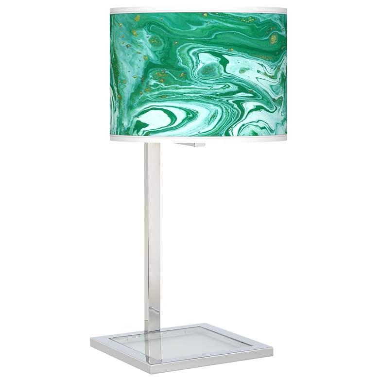 Malachite Glass Inset Table Lamp