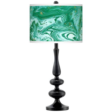 Malachite Giclee Paley Black Table Lamp