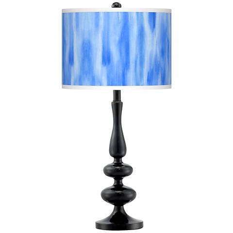 Blue Tide Giclee Paley Black Table Lamp