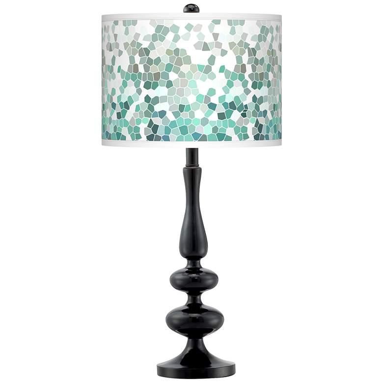 Aqua Mosaic Giclee Paley Black Table Lamp