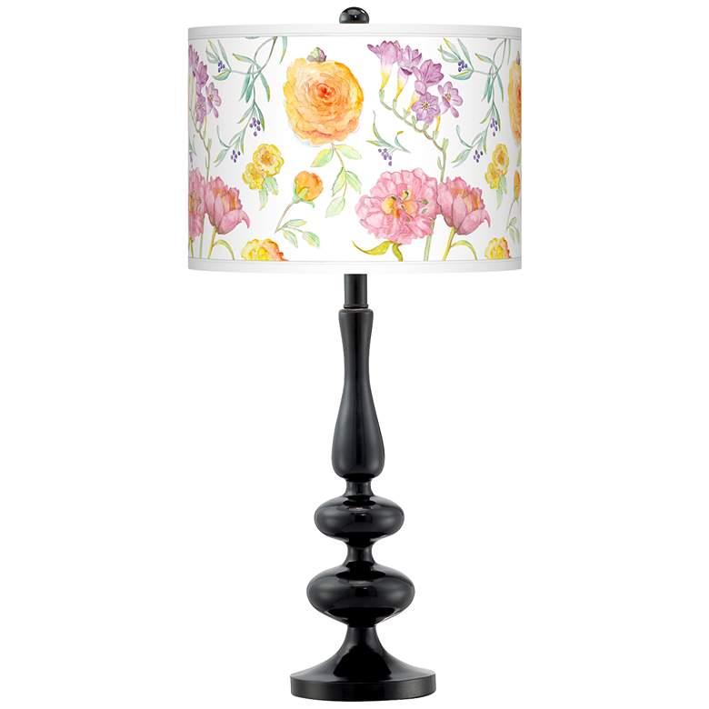 Spring Garden Giclee Paley Black Table Lamp