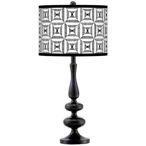 Tile Illusion Giclee Paley Black Table Lamp