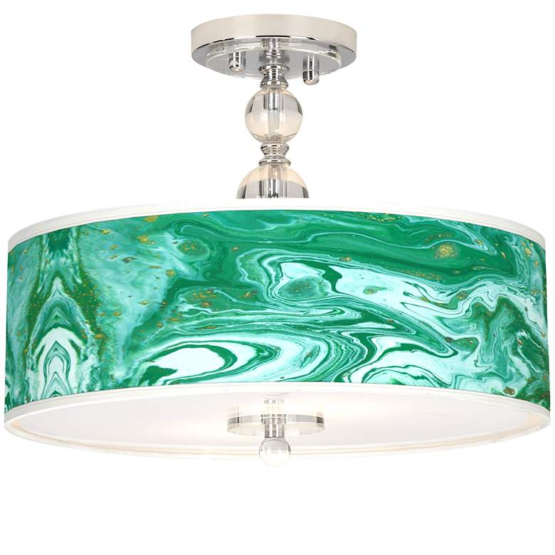 "Malachite Giclee 16"" Wide Semi-Flush Ceiling Light"