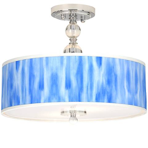 "Blue Tide Giclee 16"" Wide Semi-Flush Ceiling Light"