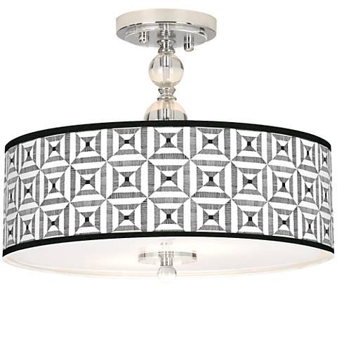 "Tile Illusion Giclee 16"" Wide Semi-Flush Ceiling Light"