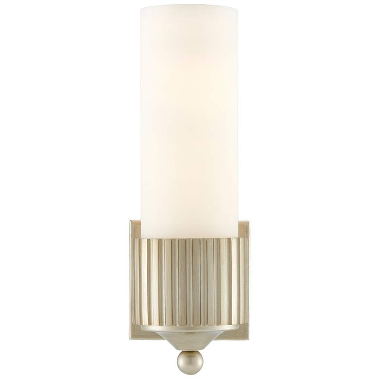 """Bryce 13 1/4"""" High Silver Leaf and Frosted Glass Wall Sconce"""
