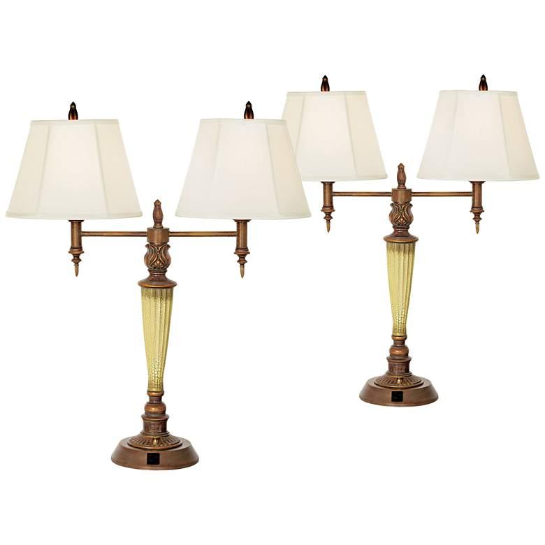 Pontiac Double Arm Gold Crackle Outlet Table Lamps Set of 2