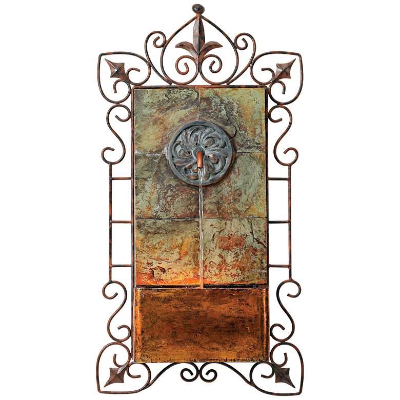 "Ibizi 33"" High Iron Scroll Rustic Traditional Wall Fountain"