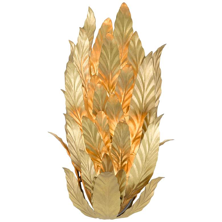 """Apollo 15 1/2"""" High Gold Leaf and Painted Gold Wall Sconce"""