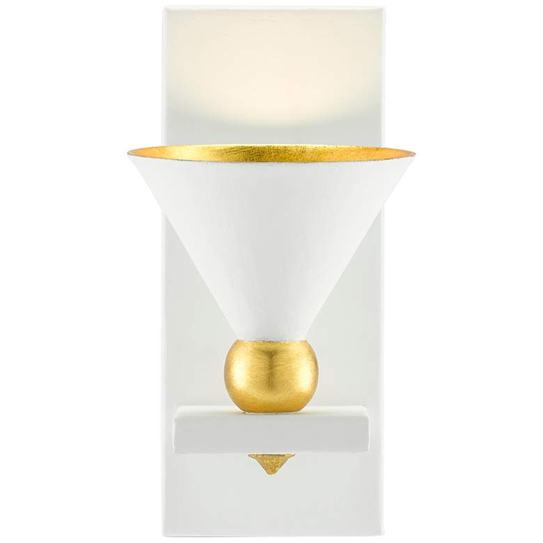 """Moderne 12"""" High Gesso White and Gold Leaf Wall Sconce"""