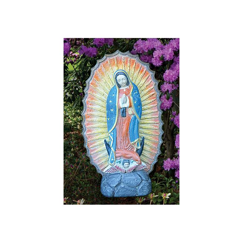 """Lady of Guadalupe 20"""" High Cast Stone Garden Accent Statue"""