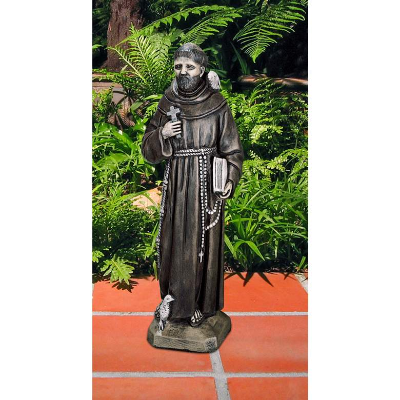 "Henri Studio St. Francis 27""H Hi-Tone Painted Outdoor Statue"