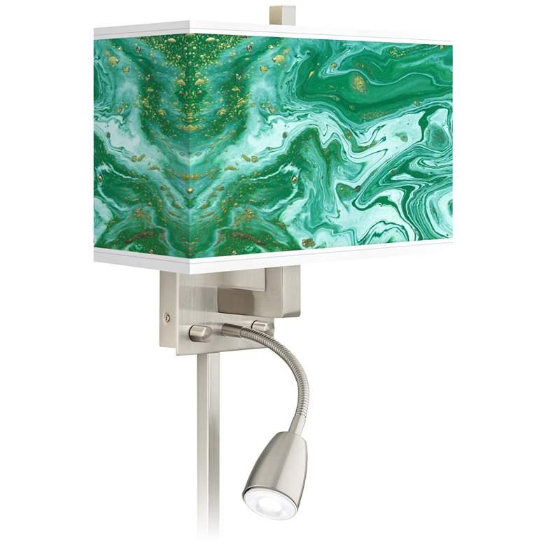 Malachite Giclee Glow LED Reading Light Plug-In Sconce