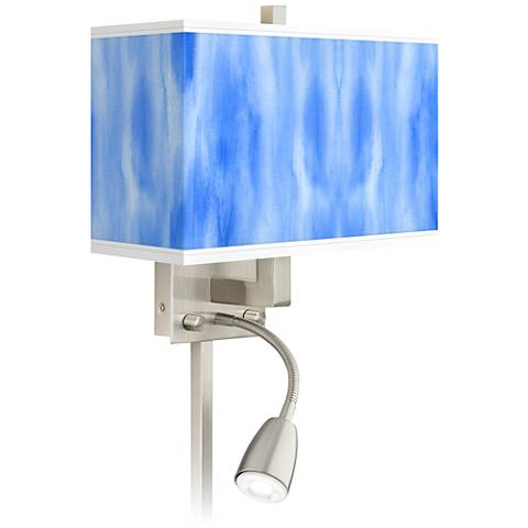 Blue Tide Giclee Glow LED Reading Light Plug-In Sconce