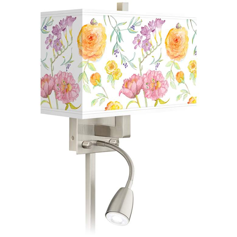 Spring Garden Giclee Glow LED Reading Light Plug-In Sconce