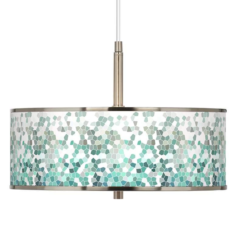 "Aqua Mosaic Giclee Glow 16"" Wide Pendant Light"