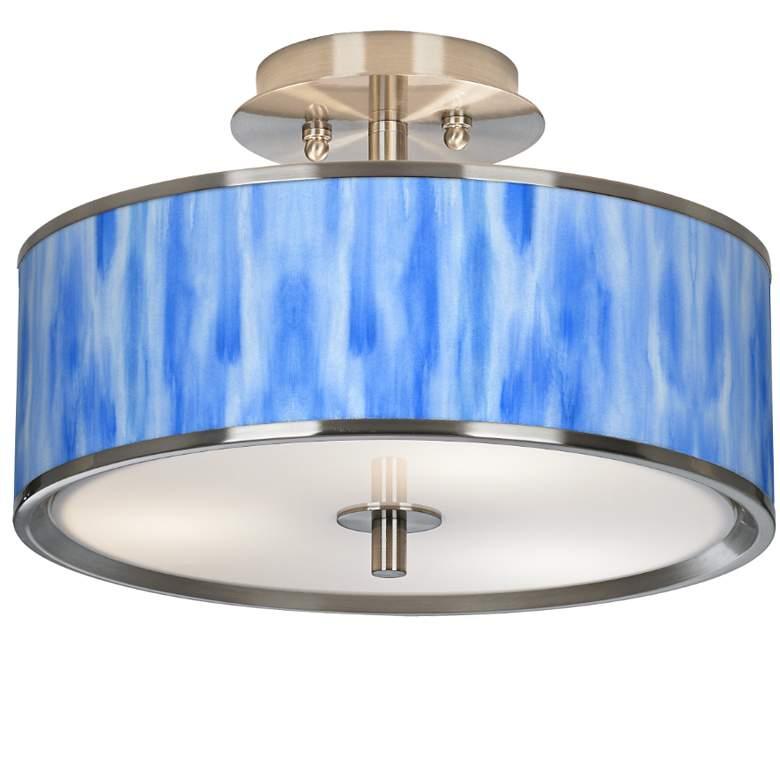"""Blue Tide Giclee Glow 14"""" Wide Ceiling Light"""