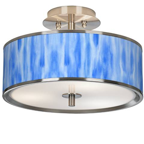 "Blue Tide Giclee Glow 14"" Wide Ceiling Light"