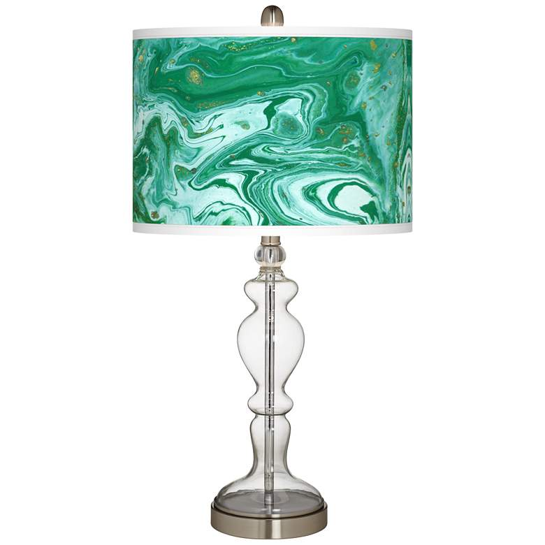Malachite Giclee Apothecary Clear Glass Table Lamp