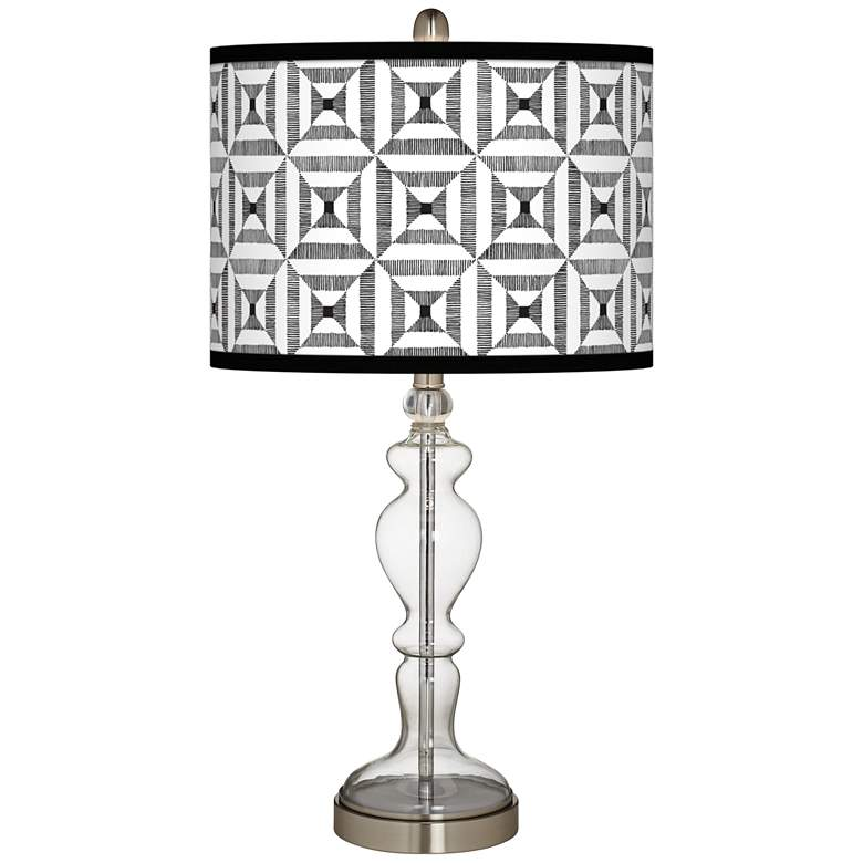 Tile Illusion Giclee Apothecary Clear Glass Table Lamp