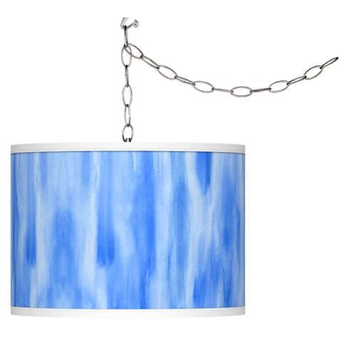 Blue Tide Giclee Glow Plug-In Swag Pendant