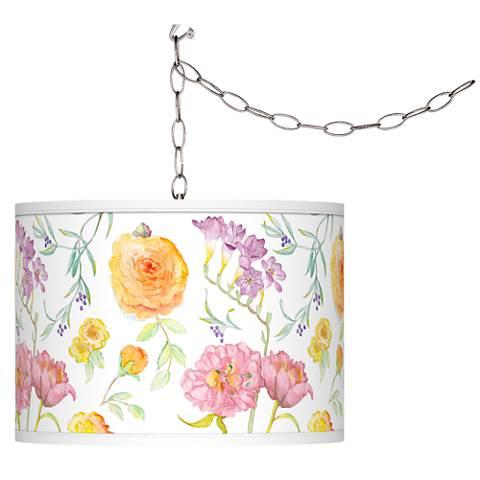 Spring Garden Giclee Glow Plug-In Swag Pendant