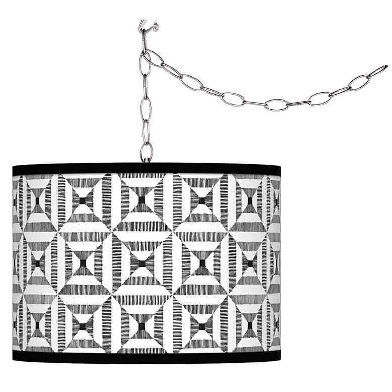 Tile Illusion Giclee Glow Plug-In Swag Pendant