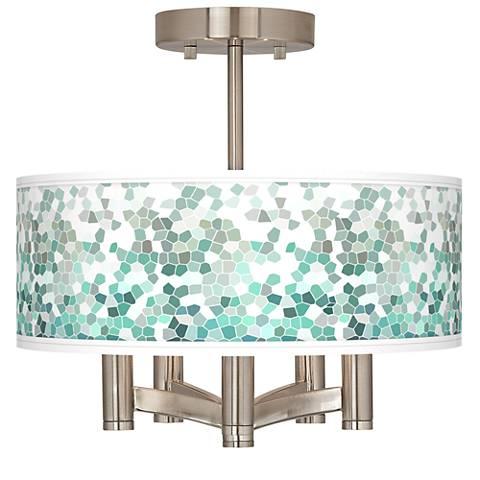 Aqua Mosaic Ava 5-Light Nickel Ceiling Light