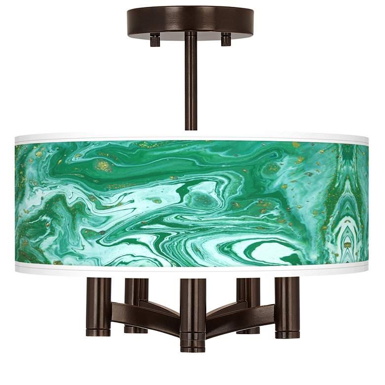 Malachite Ava 5-Light Bronze Ceiling Light