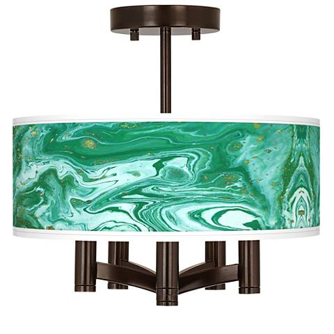 Malachite Ava 5-Light Bronze Ceiling Light