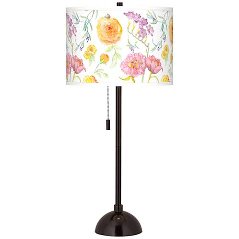 Spring Garden Giclee Glow Tiger Bronze Club Table Lamp