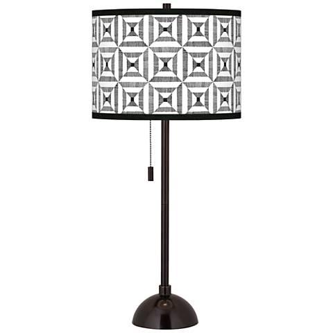 Tile Illusion Giclee Glow Tiger Bronze Club Table Lamp
