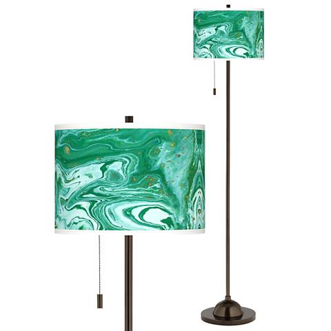 Malachite Giclee Glow Bronze Club Floor Lamp