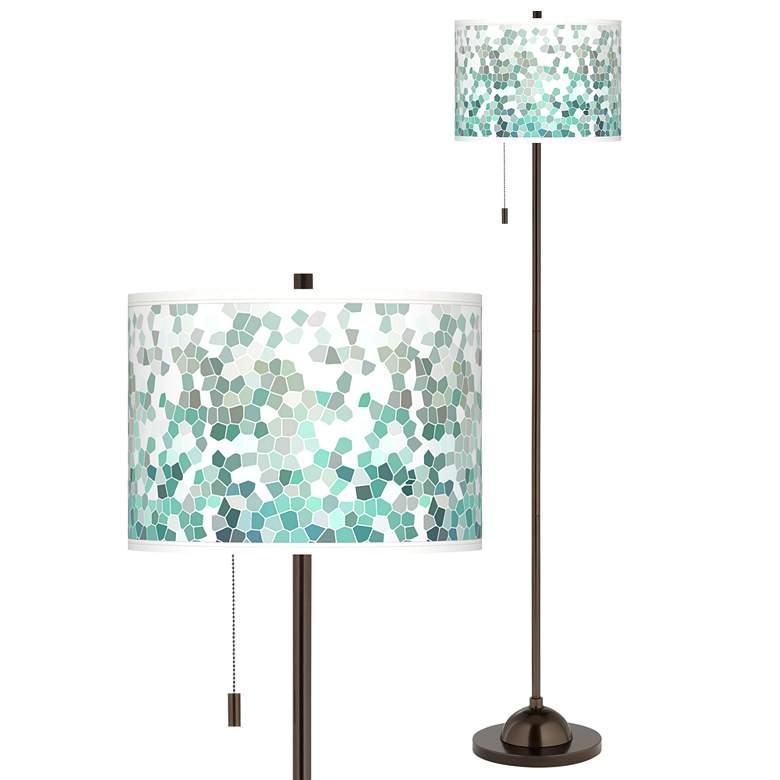 Aqua Mosaic Giclee Glow Bronze Club Floor Lamp
